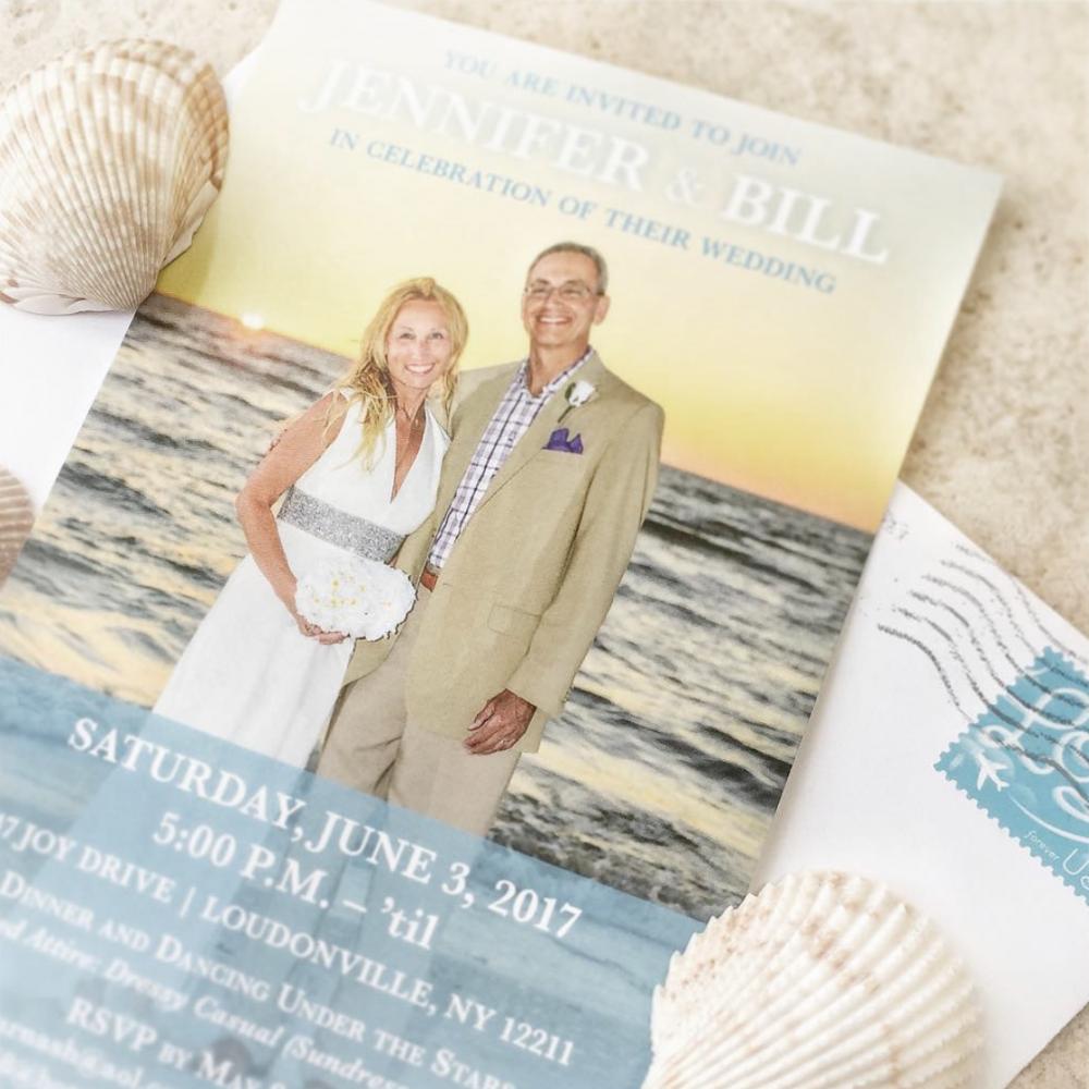 Blue Beach Wedding Invitation