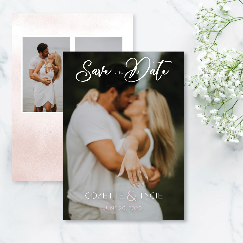 blush wedding save the date
